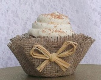 Burlap Cupcake Wrappers Raffia Papers Unique Decor Wedding Southern FAVORS Party Real Rustic Country