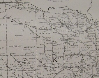 Vintage Map of NEBRASKA Rare Antique Black and White 1927 Map Gallery Wall Art 7149