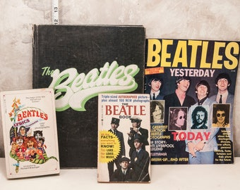 Collection of 4 vintage Beatle books. 1964-1975. Paperbacks, magazine, hardcover