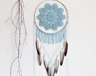 Dream catcher, large, dreamcatcher, crochet doily, wall decoration, blue, boho, wall hanging, handmade, bohemian, boho dreamcatcher, bedroom