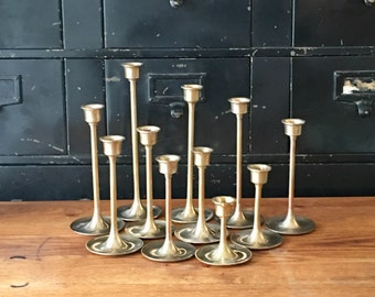 Vintage • Brass • Graduated • Candleholders • Set of Eleven • with vintage candles