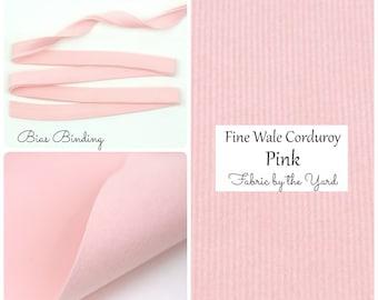 Pink Corduroy // Robert Kaufman Fabric // Bias Tape // Fabric Felt // Felt Backed Fabric // Fine Wale Corduroy // Baby Wale