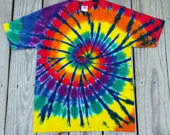 Plus Size Rainbow Tie Dye Tshirt, Rainbow with Navy Spiral  2XL 3XL 4XL 5XL 6XL , Hippie Top, Mens, Womens, Deadhead, Festival, Tie Dye Tee
