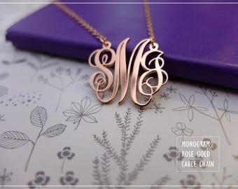 Personalized Monogram Necklace- Custom Monogram Jewelry- Initials Necklace - Personalized Bridesmaid Jewelry-Family monogram-Dainty Monogram