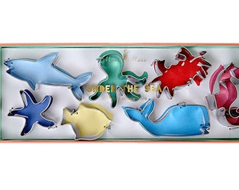 Ocean Sea Creatures Mini Cookie Cutter Set- Shark, Crab, Whale, Seahorse, Octopus, Starfish, Fish