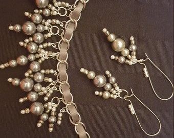 Grey & White Bracelet and Earring Jewelry Set