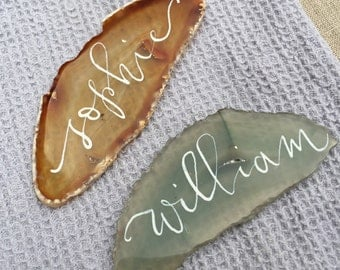 Place Card Calligraphy, Dip Pen Calligraphy, Calligraphy for Agate Slices, Wedding Place Cards, Escort Cards