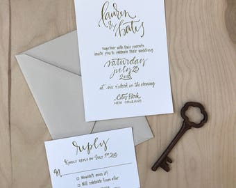 Simple Wedding Invitation Suite / Elegant Calligraphy Wedding Invitation / Traditional Wedding Invitation / Simple Wedding Invitation