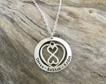 Mothers Necklace | Infinity Heart Necklace | Gifts for Mom | Infinity Pendant | Mother's Day Gift | Sterling Silver