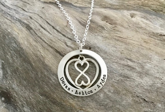 Children's Names Sterling Silver Infinity Heart / Personalized Hand Stamped / Grandma Necklace