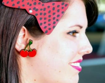 CHERRY BOMB Pin Up Style Custom Laser Cut and Engraved Acrylic and Wood pair of Stud Earrings
