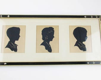 Framed Hand-cut Silhouettes - Pencil Dated 1941 - Silhouettes of a Mother and Two Sons - Black and Cream Painted Wood Frame - Triple Image