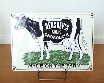 Ande Rooney Porcelain enameled Hershey's Chocolate Milk advertising sign, high quality enamel