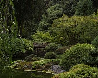 Digital Background of bridge over Japanese Gardens