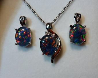 Opal Pendant & Earring Matching Set, Sterling Silver #110424.