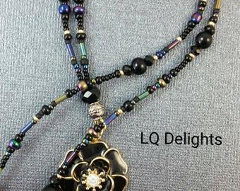 Beaded Lanyard Black Flower ID Badge Holder LQ Expressions