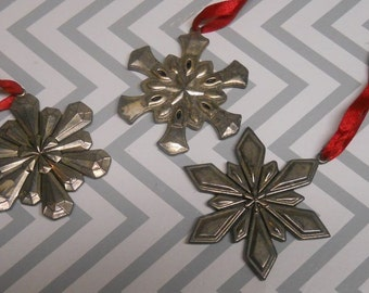 Vintage Pewter Star Ornaments Christmas Decor Country Rustic Christmas