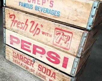 4 Vintage Sheps Pepsi 7up Garger Wood Soda Pop Crates 24 Dividers