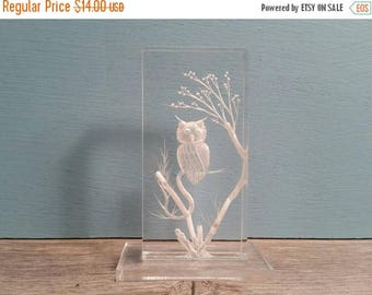 SALE - Lucite Owl Paperweight