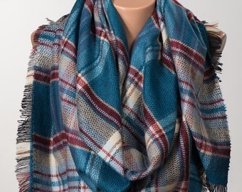 BLUE and RED Blanket Scarf. Winter wrap. Shawl wrap. Christmas women gift. Valentine wrap.