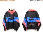 ON SALE 80s Adidas Windbreaker Neon Pink Blue Zip Up Jacket Men's Medium-XL