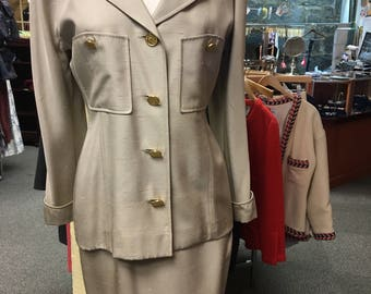 Vintage Chanel taupe shantung 2 piece blazer and skirt 38