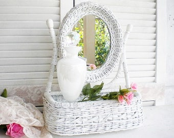 Vintage White Wicker Vanity Mirror With Storage Shabby Beach Decor Vintage Wedding Sabbby Chic