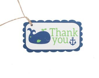 Whale Baby Shower Favor Tags - Whale Birthday Favor Tags - Nautical Birthday Favor Tags - Nautical Baby Shower Party Favor Tags - Anchor