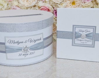 Wedding set - card box and guest book - silver / glitter
