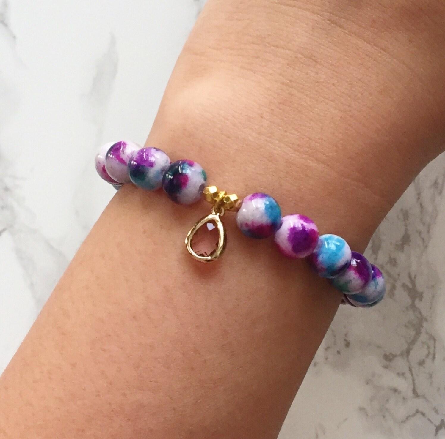 Watercolor Bracelet Charm Bracelet - Purple & Blue