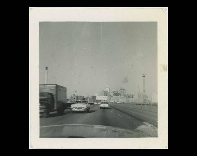 Vintage Snapshot Photo: Dallas Skyline, Through Windshield, 1950s (74570)