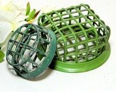 Two Green Cast Metal Cage Flower Frogs Arrangers