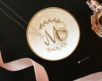 Initial Ring Dish, Jewelry Dish, Trinket Dish, Wedding Ring Dish