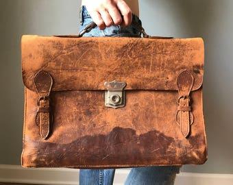 Vintage Cognac Teathered Leather Briefcase