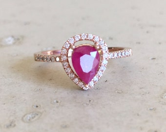 Rose Gold Ruby Engagement Ring- Halo Pear Shape Ruby Ring- Genuine Ruby Promise Ring- Alternative Engagement Ring with Diamond
