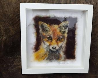 Framed needle felted fox cub