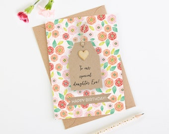 Personalised Daughter Birthday Card Floral Tag
