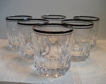 Spiegelau Prado Platinum or Silver Trim Double Old Fashioned, Set of 6