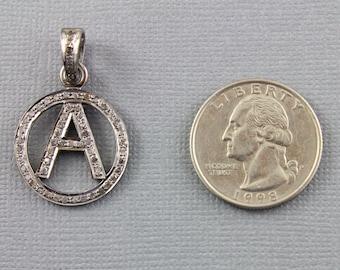 Pave diamond Pendant, Pave A Initial Pendant, Diamond A Charm, A Charm, Oxidized Silver, Silver With Diamonds.(DCH/CR560/20)