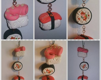 Sushi Ornaments, Christmas Food Ornaments, Custom Clay Ornaments, Sushi Keepsakes, Clay Food, Food Miniatures, Foodie Christmas Gifts
