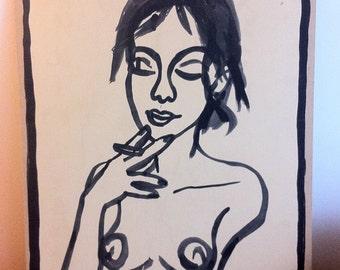 Dessin original, original artwork, smoking sexy girl fille nue sur carton/cardboard