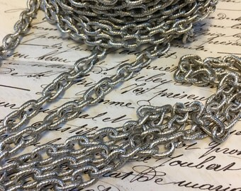2 feet, oval link Chain, silver grooved chain, medium sized, 11mm oval link, silver link chain,silver color, Rhodium finish