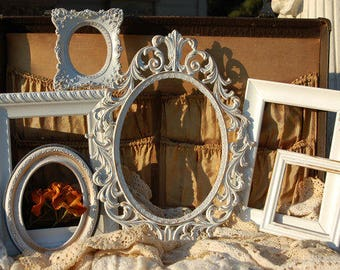 Set Of 6 Distressed Shabby chic Frames, Rustic, Frame Set, Antique White And Gold Wall Decor