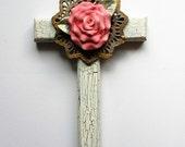CROSS crosses mixed media cross cross pink rose hand painted Shabby chic wall decor religious Christian art