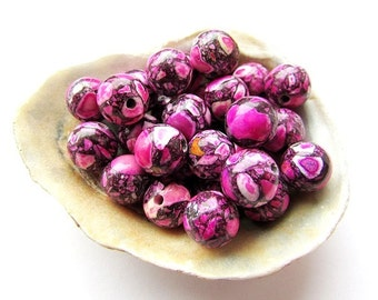 20 Pink Mosaic Turquoise Beads 8 mm Round Pink Beads Natural Stone Beads Craft Supplies Jewelry Supplies