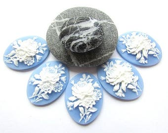 2pcs White Flower Cameo Acrylic Cameo 18 x 25 mm Floral Cameo 3D White Blue Cameo Resin Flower Cameo Flat back Jewelry making Craft Supplies