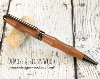 Cherry Wood Pen, Wood Turned, Euro Style, Black Ink, Gun Metal Finish