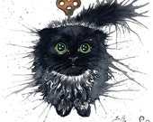 Clockwork (Exploding) Kitten Oolong: Fine Art Watercolour Black Cat Print