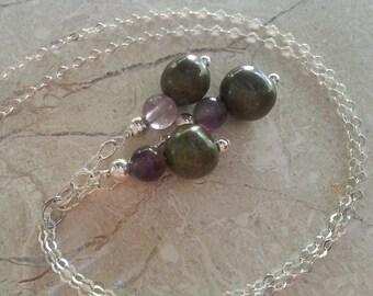 Memorial Bead Pendant or Necklace- Custom Keepsake Stoneware Pottery Pet Cremains Jewelry - GEM-STONES Trio-Drop Pendant