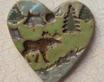 Large Glazed Pottery Pet Cremains Motif Pendant or Ornament - Custom Memorial Pet Cremation Keepsake -  MOOSE by the CREEK